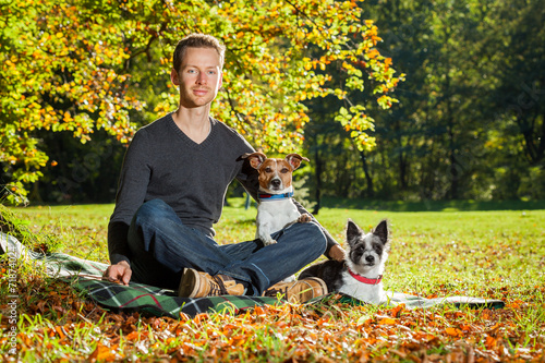 canvas print picture dogs and owner