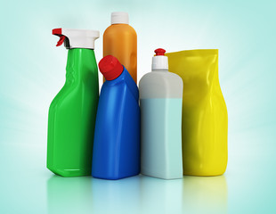 Cleaning supplies. Household chemical detergent bottles
