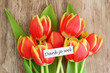 Dank je wel card, (thank you in Dutch), with red tulips