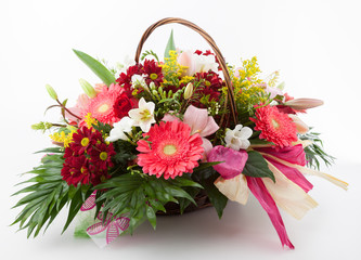 Floral arrangement in a basket