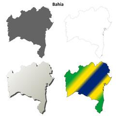 Bahia blank outline map set