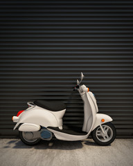 white intage scooter in front of the metal garage door