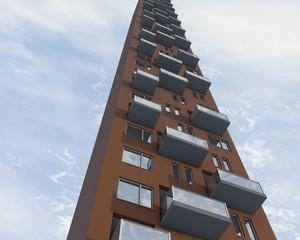 Perspectief van hoog flatgebouw