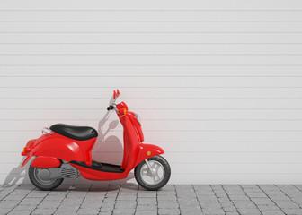 red vintage scooter, background