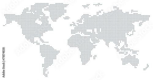 Leinwanddruck Bild Dotted World Map - grey