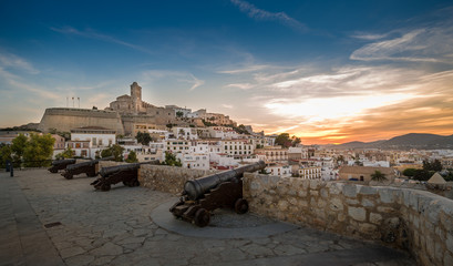 Dalt Vila fortress at sunset