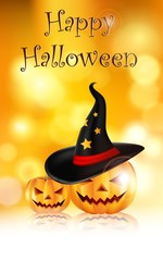 happy halloween background with pumpkin and hat