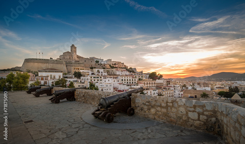 Dalt Vila fortress at sunset