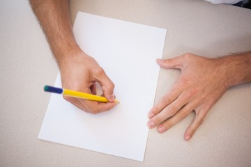 Designer drawing the old fashioned way