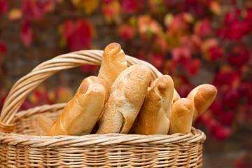 Fresh bread on the basket