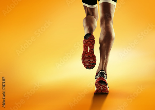 Papiers peints Jogging Sports background. Runner feet running closeup on shoe.