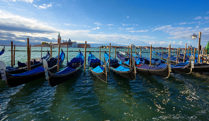 gondolas moored at san marco square. Venice. Italy.