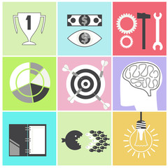 Icon set brain light bulb darts target fish eye gear