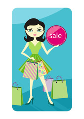 Shopping sale girl showing shopping bag with lable