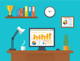 Modern office interior with seo desktop