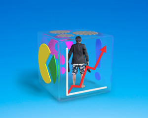 barefoot man with shorts standing in glass cube
