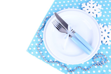 White plates, fork and knife isolated on white