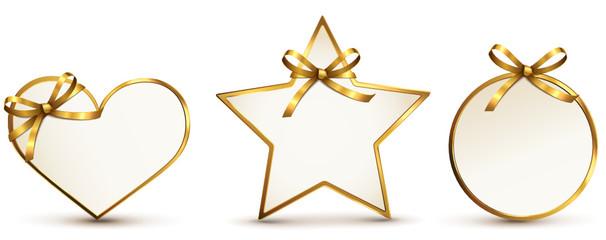 Geschenkkarten Set mit Schleife - Gold