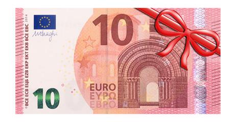 10 Euro Gutschein mit roter Schleife rechts