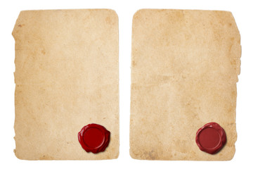 Old parchment letter set with red wax seal
