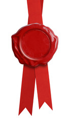 Red wax seal with ribbon isolated
