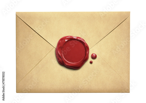 Poster Retro Old letter envelope with wax seal isolated