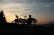 Mountainbiker macht Pause