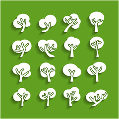 tree paper icon set, vector eps10