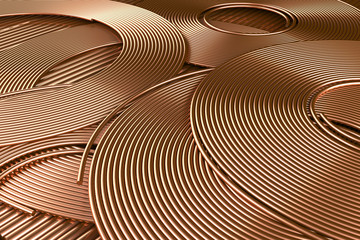 Copper wires close-up. 3d illustration.