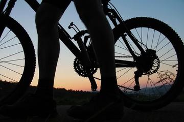 Mountainbiker mach Halt