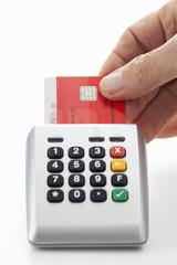 Kartenlesegerät, geld überweisen,  Kreditkarte, Hand