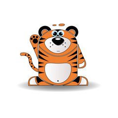 Cartoon illustration of a tiger with a surprised expression