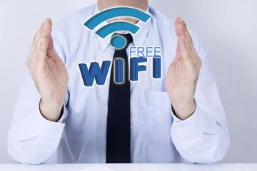 businessman with words wifi