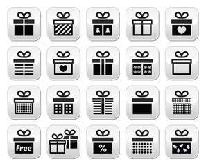 Present, gift box vector buttons set