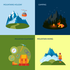Camping icons set flat