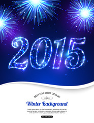 Happy New Year 2015 celebration concept on beautiful fireworks