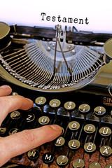 Alte Schreibmaschine, Testament Wort