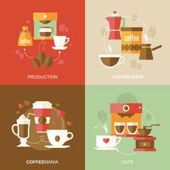 Coffee icons flat