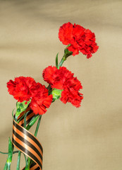 Red carnations which tied up George tape