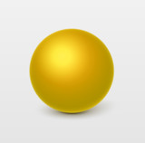 Glossy yellow sphere.Vector, isolated