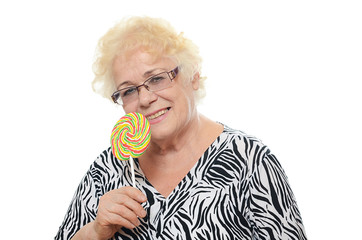 The elderly woman with sugar candy
