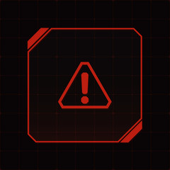 HUD interface with attention sign and exclamation mark. Vector