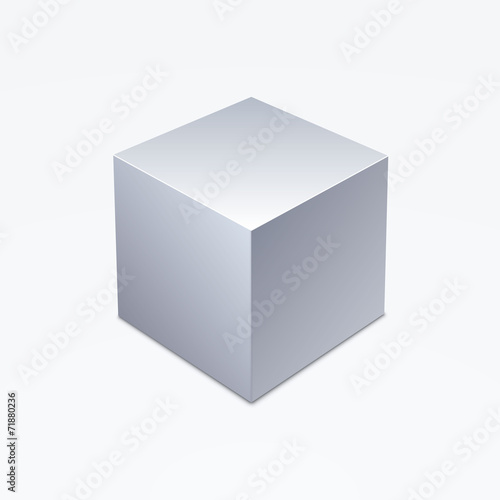 3D cube isolated on white background - 71880236