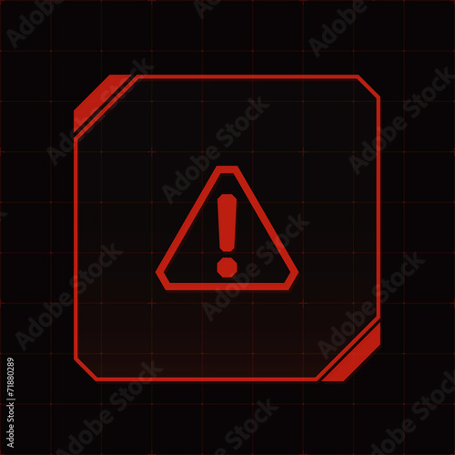 HUD interface with attention sign and exclamation mark. Vector - 71880289