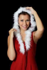 The Christmas girl on a black background