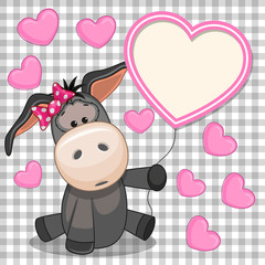 Donkey with heart frame