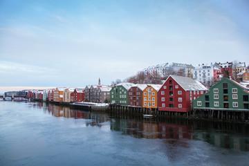 Trondheim winter cityscape Norway