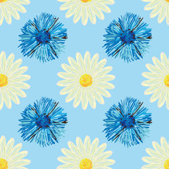 Abstract floral background with daisies and cornflowers