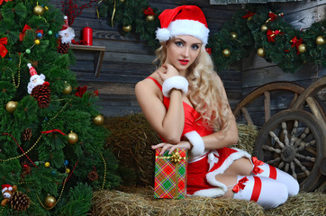 Young beauty smiling santa woman near the Christmas tree
