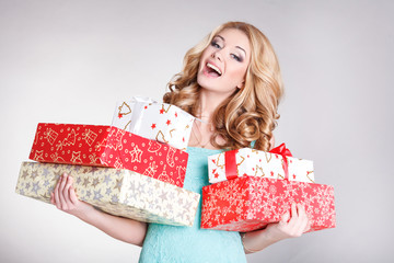 vHappy girl with gift box christmas and new year concept